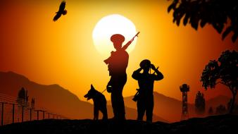 Sunset soldiers sun trees dogs weapons roads wallpaper