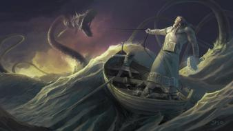 Thor fantasy art boats creatures mythology gods sea wallpaper