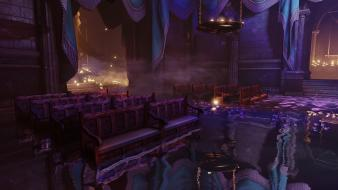 Water bioshock infinite candles reflections seats wallpaper