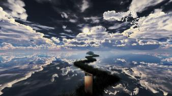 Water clouds grass scenic digital art sky mirror Wallpaper