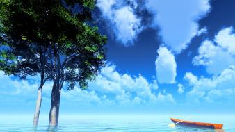Water clouds summer scenic sky wallpaper