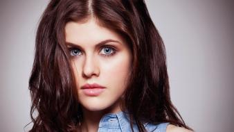 White collar gray eyes faces alexandra daddario wallpaper