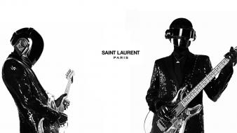White daft punk guitars yves saint laurent Wallpaper