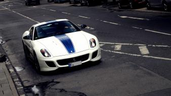 White ferrari italy roads vehicles 599 stripes speed wallpaper
