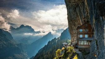 White forests grass switzerland hostel tourism skies wallpaper
