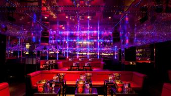 Architecture design bar lighting night club neon lounge wallpaper