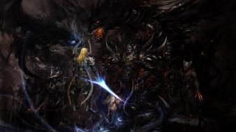 Armor magic battles creatures warriors claws swords wallpaper