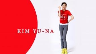 Asians korean athletes simple background kim yuna wallpaper