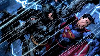Batman rain dc comics superman superheroes battles lightning wallpaper