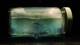 Bottles ships fantasy art aquarium drawings photo manipulation wallpaper