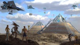 Buildings egypt spaceships egyptian alien pyramids cairo sci-fi wallpaper