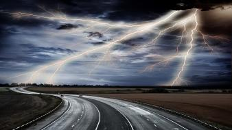 Cars storm roads lighting wallpaper