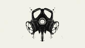Circles gas masks white background wallpaper