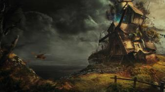 Clouds digital art windmills sea wallpaper