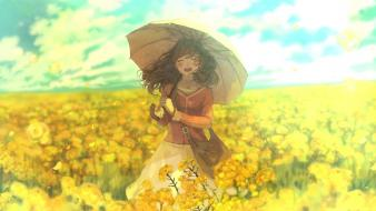 Clouds dress flowers yellow pon cielo sky wallpaper