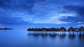 Clouds malaysia huts skies sea wallpaper