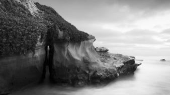Coast cliffs san diego greyscale sea wallpaper