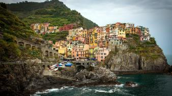Coast waves hills rocks cliffs italy villages wallpaper