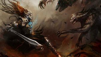 Dark monsters knights fighting fantasy art artwork wallpaper
