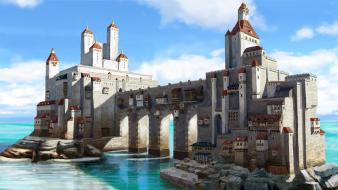 Fantasy art castle sea wallpaper