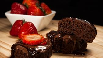 Fruits chocolate food desserts strawberries cakes Wallpaper