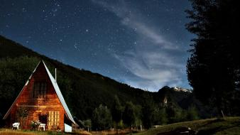 Houses brown nocturnal patagonia starry night skies wallpaper