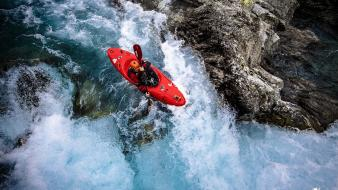 Kayak waterfalls rivers rapids wallpaper