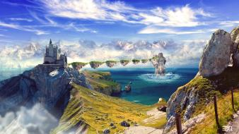 Landscapes castles fantasy art digital 3d trails wallpaper