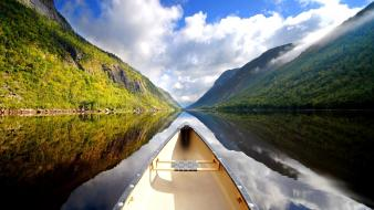 Landscapes new zealand rivers canoe reflections wallpaper