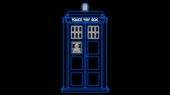 Line art doctor who police box neon wallpaper