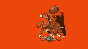 Minimalistic funny bears rodeo cowboy wallpaper