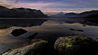Moss lake district (uk) lakes contrails reflections wallpaper