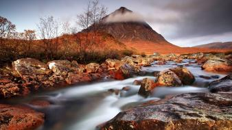 Mountains clouds nature rocks mist streams rivers creek Wallpaper