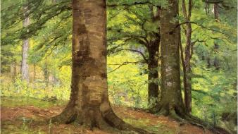 Paintings landscapes trees forests artwork theodore clement steele wallpaper