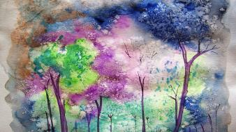Paintings trees multicolor forests artwork watercolor forest wallpaper