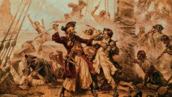 Pirates sepia engraving drawings blackbeard edward teach Wallpaper