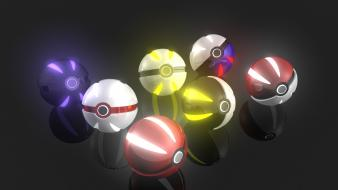 Pokemon glowing reflections black background pokeball Wallpaper
