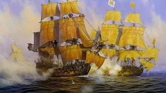 Sail ship sea battle sailing ships archigraph 1 Wallpaper
