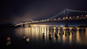 San francisco city lights long exposure reflections wallpaper
