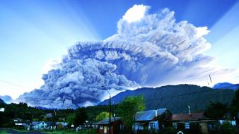 Smoke destruction town eruption patagonia skies chaiten wallpaper