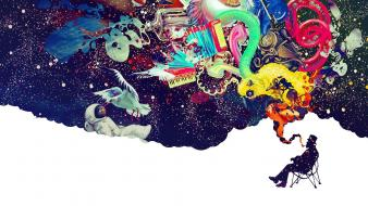 Smoking smoke dreams colors astronaut wallpaper