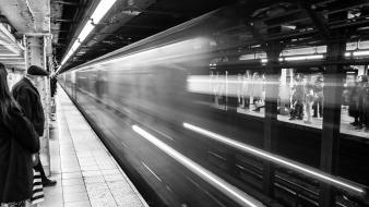 Subway grayscale trainstation wallpaper