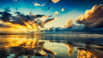 Sunset landscapes nature reflections the sky beach wallpaper