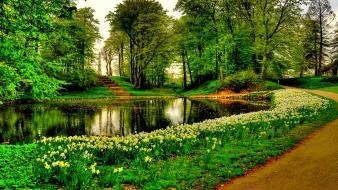 Trees flowers paths stairways lakes reflections park wallpaper