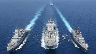 Vessel warships formation blue sea refueling marine wallpaper