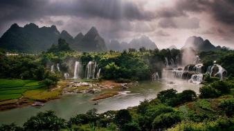Viet nam waterfalls rivers rice terraces sunbeams wallpaper