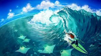 Water blue surfing fishes wallpaper