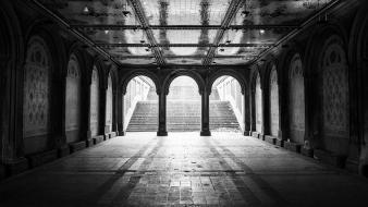 York city central park monochrome bethesda arcade wallpaper