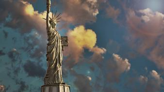 3d statue of liberty clouds wallpaper