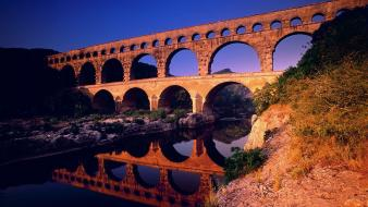 Arch france gard pont du aqueduct wallpaper